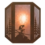 Snow Skier Three Panel Metal Wall Sconce