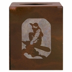 Snowboarder Metal Boutique Tissue Box Cover
