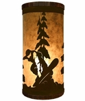 Snowboarder Metal Cylinder Pillar Table Lamp