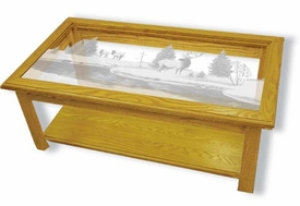 Solid Oak Coffee Table with Etched Glass Elk Top Rectangle