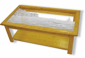 Etched Glass Solid Oak Rectangle Coffee Table with Lighthouse Top