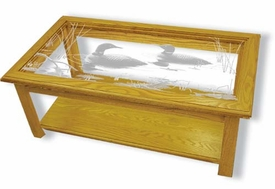 Etched Glass Solid Oak Rectangle Coffee Table with Loons
