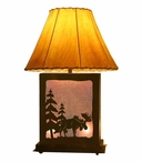 Standing Moose Scenic Metal Table Lamp with Night Light