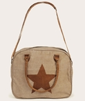 Star Stonewashed Canvas and Soft Leather Shoulder Tote Bag