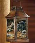 Streamside Black Bear Metal and Glass Candle Lantern