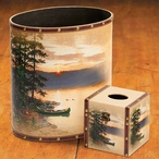 Summer Sunrise Camping Wood Trash Cans and Tissue Box Covers, Set of 4