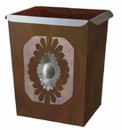 Sunburst Concho Metal Wastebasket Trash Can