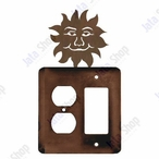 Sunface Double Metal Outlet Cover with Single Rocker