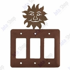 Sunface Triple Rocker Metal Switch Plate Cover