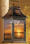Sunset Silhouette Mallard Ducks Metal and Glass Candle Lantern