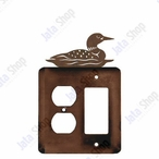 Swimming Loon Double Metal Outlet Cover with Single Rocker