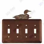 Swimming Loon Quad Toggle Metal Switch Plate Cover