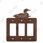 Swimming Loon Triple Rocker Metal Switch Plate Cover