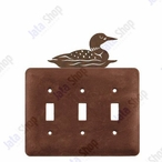 Swimming Loon Triple Toggle Metal Switch Plate Cover