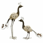 Tall Metalwork Beige Peacocks Sculptures, Set of 2