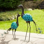 Tall Metalwork Turquoise Peacocks Sculptures, Set of 2