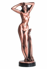 Tall Nude Lady Posing Statue - Copper Finish