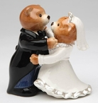 Teddy Bear Bride and Groom Porcelain Salt and Pepper Shakers, Set of 4