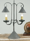 Textured Grey Double Table Lamp with Hanging Shades
