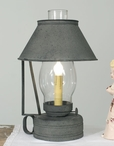 Textured Grey Livery Stable Metal Table Lamp with Glass Chimney