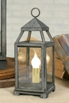 Textured Grey Small Lancaster Metal Electric Lanterns, Set of 2