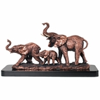 Three Elephants Statue - Copper Finish