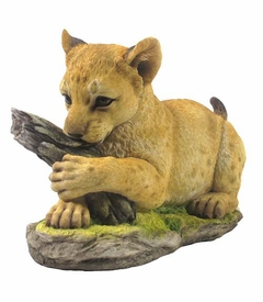 Tiger Cub Holding Tree Trunk Sculpture