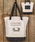 To Market Pig Canvas Grocery Market Tote Bag