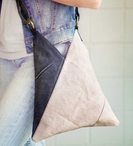 Triangle Crossbody Canvas Tote Bag