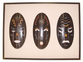 Tribal Mask Set Framed Wall Art