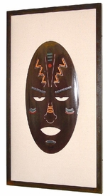 Tribal Mask Single Framed Metal Wall Art