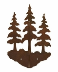 Triple Pine Trees Double Metal Wall Hook