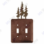 Triple Pine Trees Double Toggle Metal Switch Plate Cover