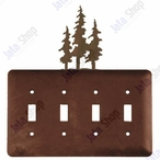 Triple Pine Trees Quad Toggle Metal Switch Plate Cover
