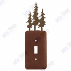 Triple Pine Trees Single Toggle Metal Switch Plate Cover