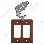 Trout Fish Double Rocker Metal Switch Plate Cover