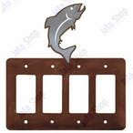 Trout Fish Quad Rocker Metal Switch Plate Cover