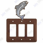 Trout Fish Triple Rocker Metal Switch Plate Cover