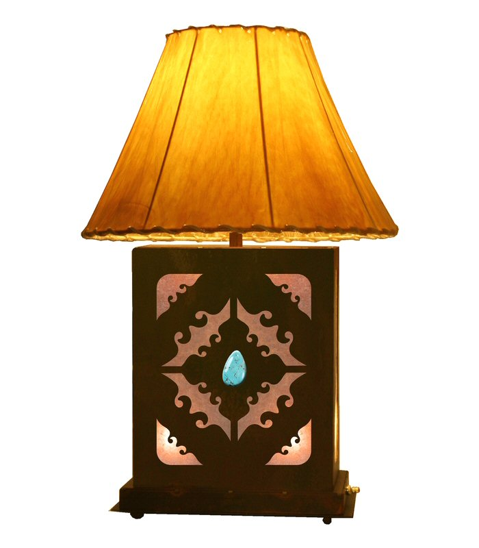 scenic metal table lamp with night light southwestern style lighting. Black Bedroom Furniture Sets. Home Design Ideas