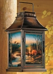 Twilight Glow Outdoor Scene Metal Candle Lantern