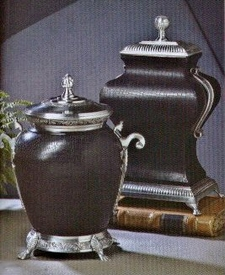 Two Antique Silver Black Leather Urns