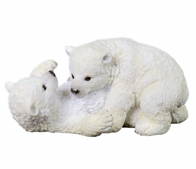Two Polar Bears Cubs Playing Sculpture