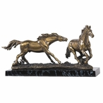 Two Running Horses with Marble Base Statue - Antique Brass Finish