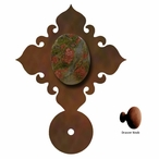 Unakite Stone Metal Drawer Pull with Back Plate