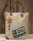 Utah Stonewashed Canvas and Soft Leather Tote Bag