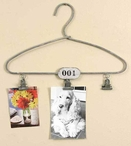 Vintage Clothes Hanger with Clips Metal Wall Photo Holders, Set of 2