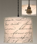 Vintage Handwriting Canvas Pendant Lamp Light