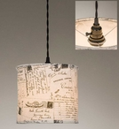 Vintage Postcards Canvas Pendant Lamp Light