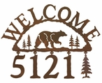 Walking Bear Metal Address Welcome Sign