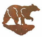 Walking Black Bear Double Metal Wall Hook